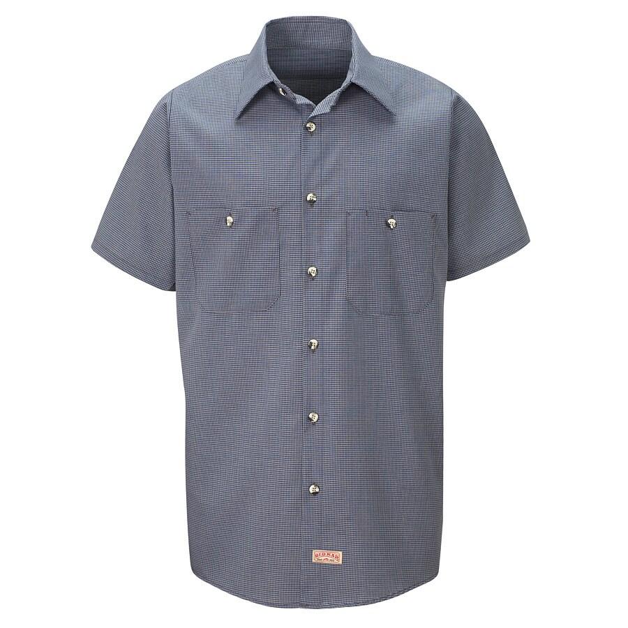 Red Kap Men's 5XL Blue Check Poplin Polyester Blend Short Sleeve Uniform Work Shirt