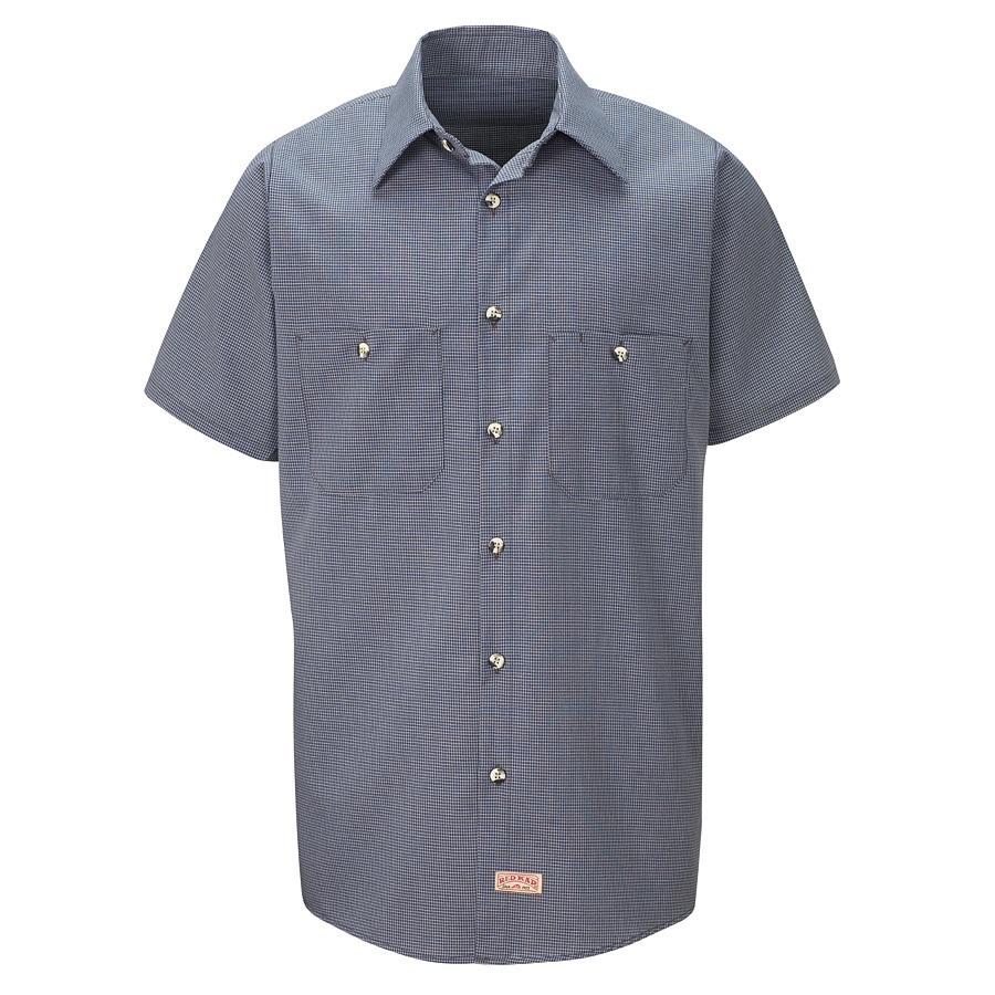 Red Kap Men's 4XL-Long Blue Check Poplin Polyester Blend Short Sleeve Uniform Work Shirt