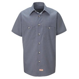 Mens Short Sleeve Micro-Check Uniform Shirt
