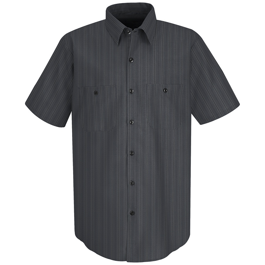 Red Kap Men's Large Charcoal with Blue Striped Poplin Polyester Blend Short Sleeve Uniform Work Shirt
