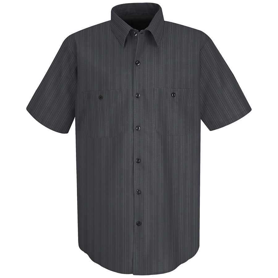 Red Kap Men's X-Large Charcoal with Blue Striped Poplin Polyester Blend Short Sleeve Uniform Work Shirt