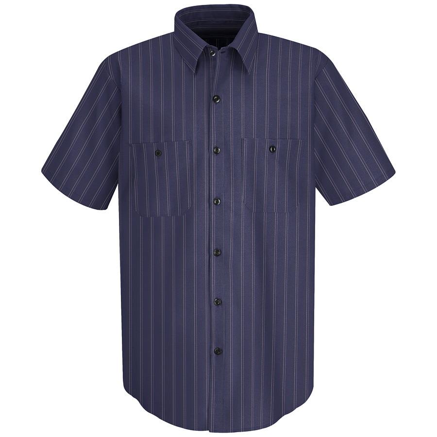 Red Kap Men's XX-Large Blue with Brown Striped Poplin Polyester Blend Short Sleeve Uniform Work Shirt