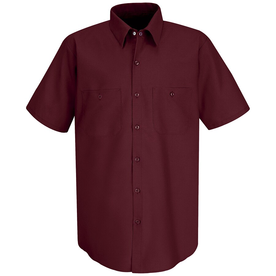Red Kap Men's Medium Burgundy Poplin Polyester Blend Short Sleeve Uniform Work Shirt