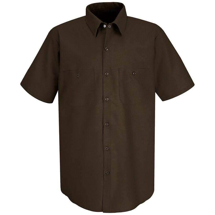 Red Kap Men's Large Chocolate Brown Poplin Polyester Blend Short Sleeve Uniform Work Shirt