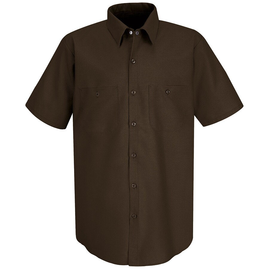 Red Kap Men's X-Large Chocolate Brown Poplin Polyester Blend Short Sleeve Uniform Work Shirt