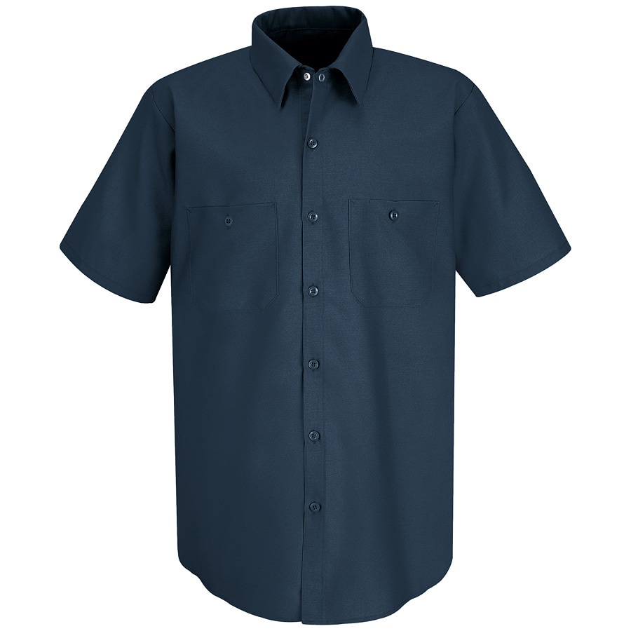 Red Kap Men's Large Dark Blue Poplin Polyester Blend Short Sleeve Uniform Work Shirt