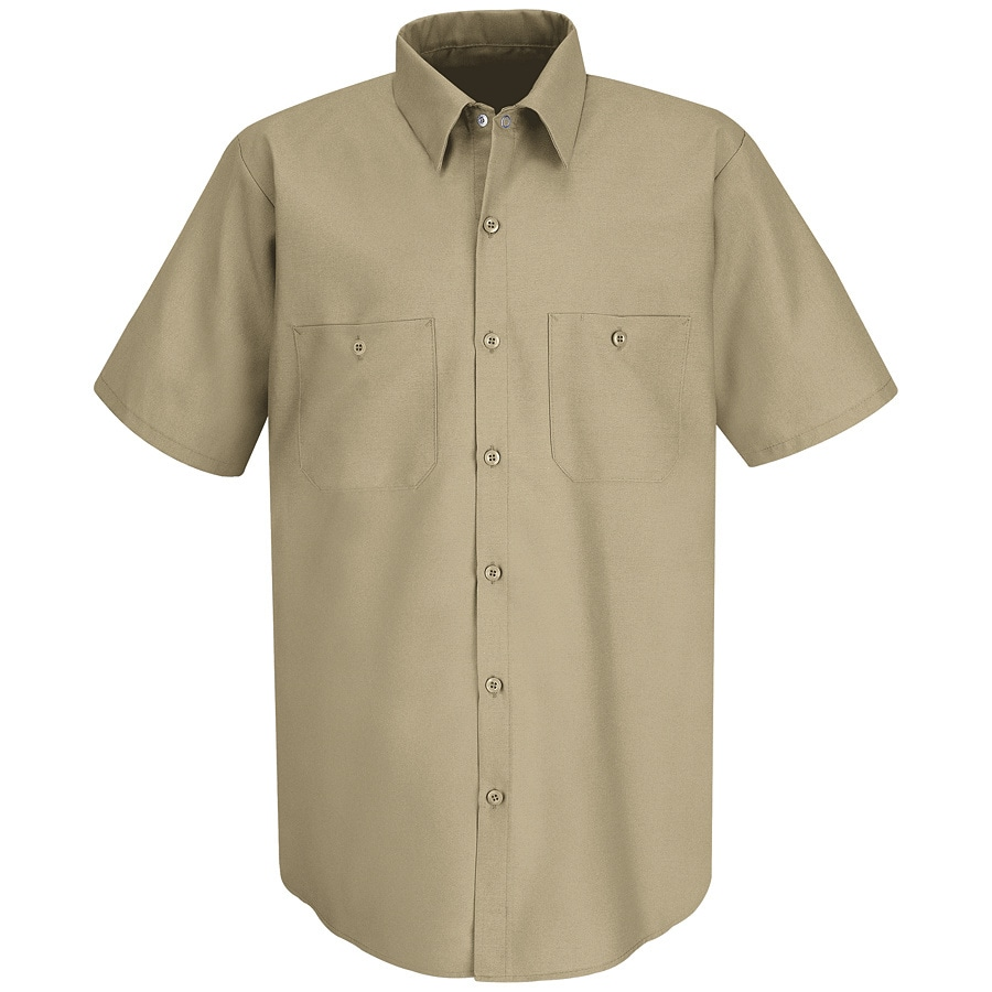 Red Kap Men's Large Khaki Poplin Polyester Blend Short Sleeve Uniform Work Shirt