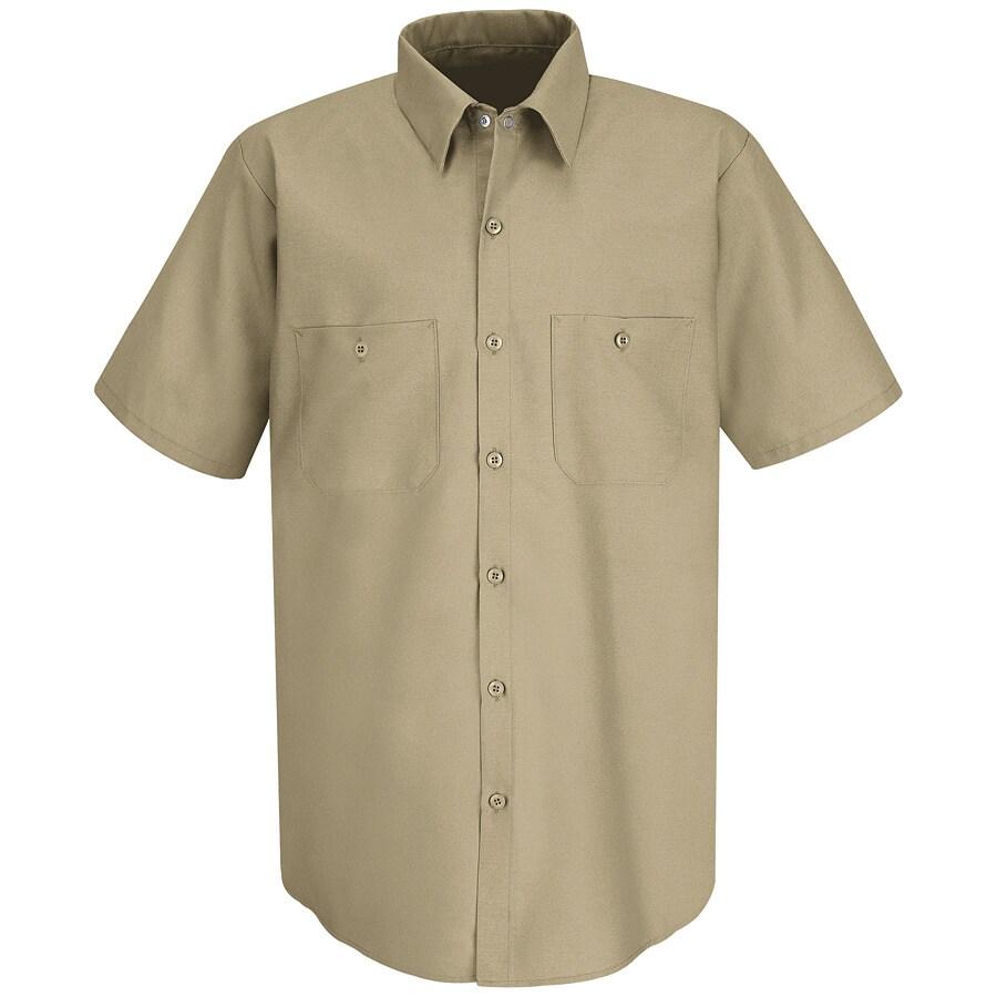 Red Kap Men's Medium Khaki Poplin Polyester Blend Short Sleeve Uniform Work Shirt