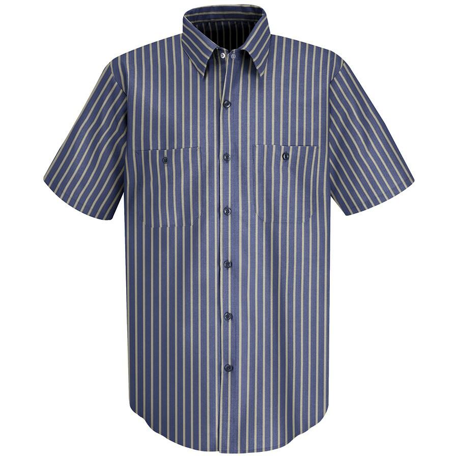 Red Kap Men's Large-Long Navy/Khaki Stripe Poplin Polyester Blend Short Sleeve Uniform Work Shirt