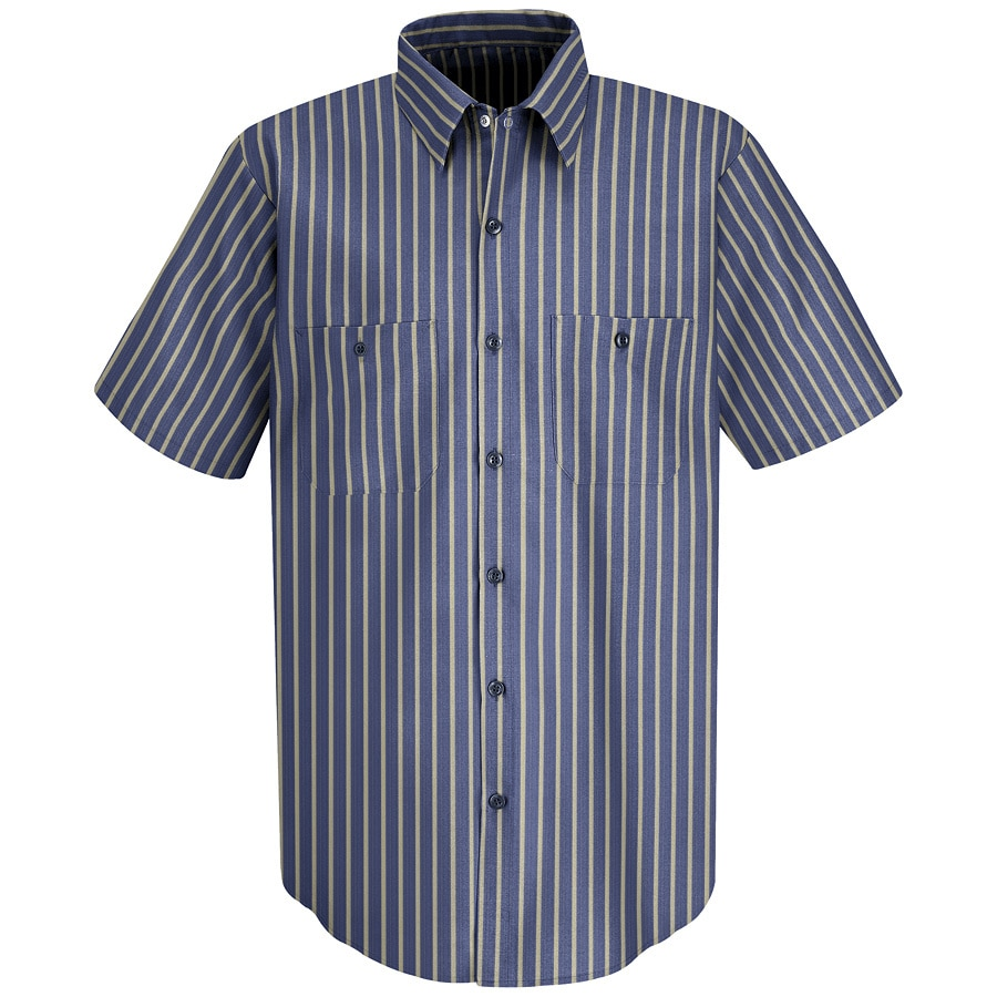 Red Kap Men's XXL-Long Navy/Khaki Stripe Poplin Polyester Blend Short Sleeve Uniform Work Shirt