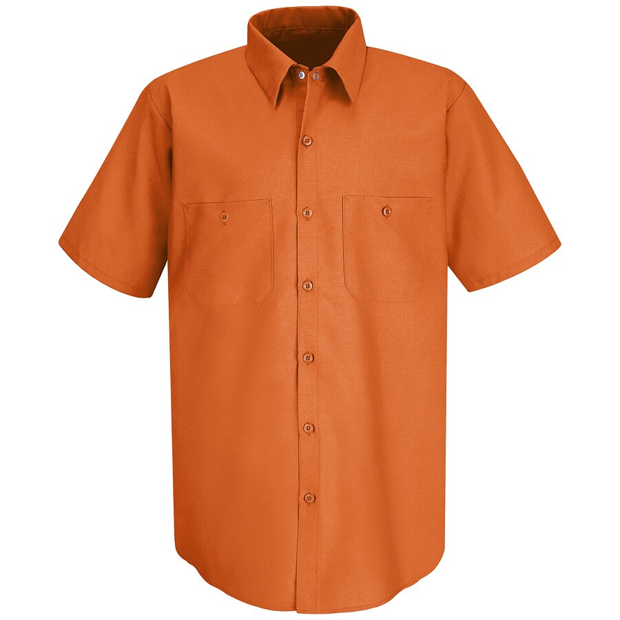 Red Kap Men's 3XL-Long Orange Poplin Polyester Blend Short Sleeve Uniform Work Shirt