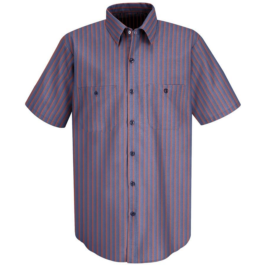 Red Kap Men's Large-Long Navy Striped Poplin Polyester Blend Short Sleeve Uniform Work Shirt