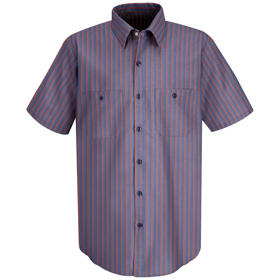 Red Kap Men's XXL-Long Navy Striped Poplin Polyester Blend Short Sleeve Uniform Work Shirt