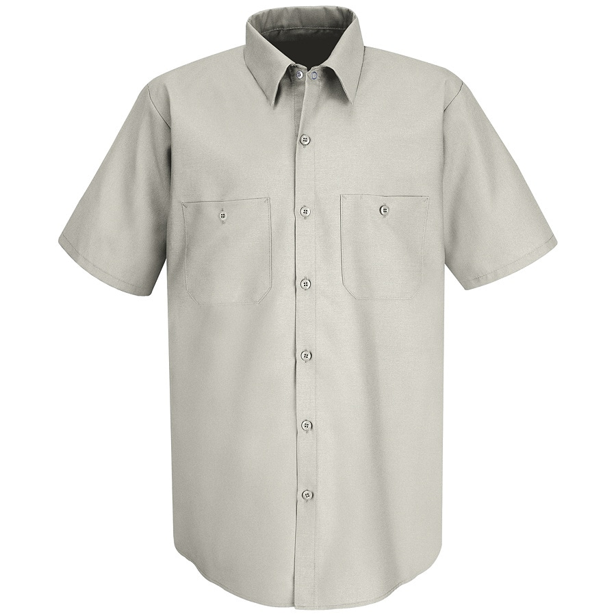 Red Kap Men's Large Silver Grey Poplin Polyester Blend Short Sleeve Uniform Work Shirt