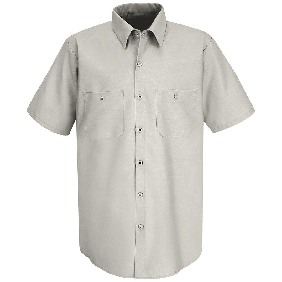 Red Kap Men's 3XL Silver Grey Poplin Polyester Blend Short Sleeve Uniform Work Shirt