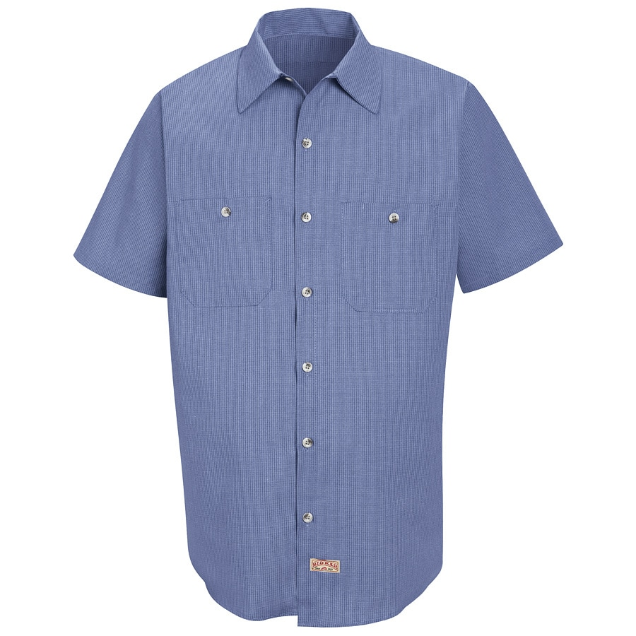 Red Kap Men's Large Denim Blue Microcheck Poplin Polyester Blend Short Sleeve Uniform Work Shirt