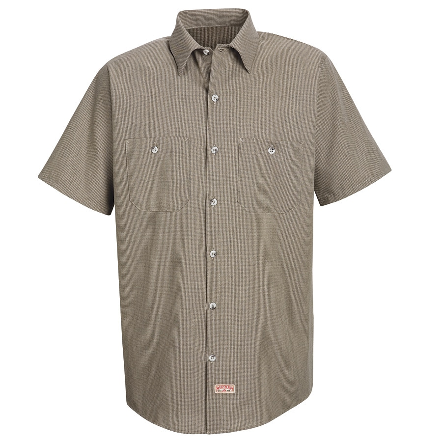 Red Kap Men's Small Khaki/Black Microcheck Poplin Polyester Blend Short Sleeve Uniform Work Shirt