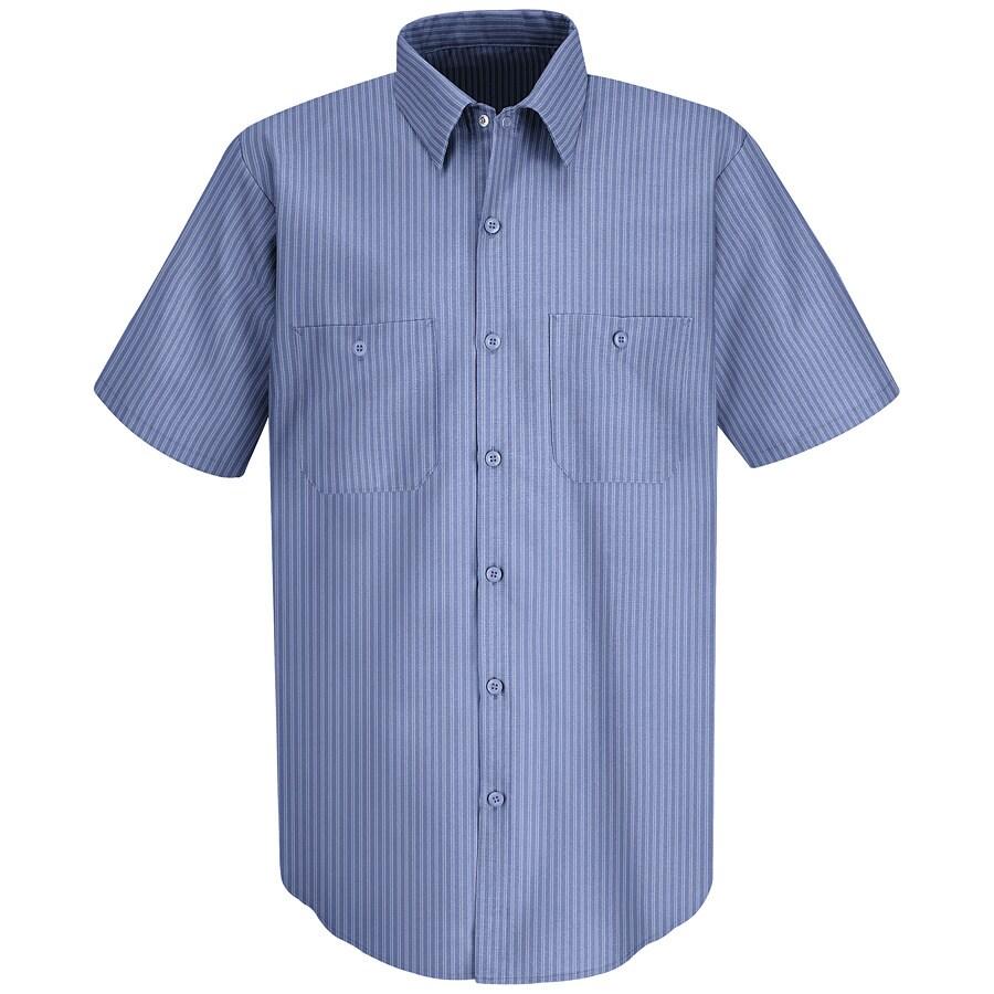 Red Kap Men's Large Medium Blue/Light Blue Twin Stripe Poplin Polyester Blend Short Sleeve Uniform Work Shirt