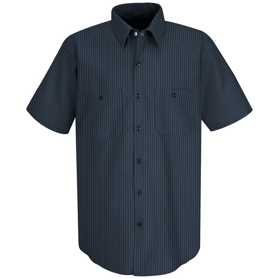 Red Kap Men's Medium Navy/Light Blue Twin Stripe Poplin Polyester Blend Short Sleeve Uniform Work Shirt