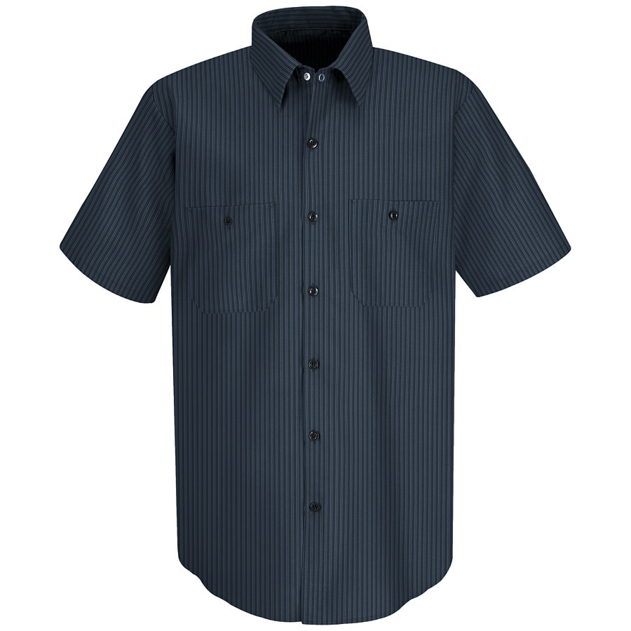 Red Kap Men's XX-Large Navy/Light Blue Twin Stripe Poplin Polyester Blend Short Sleeve Uniform Work Shirt