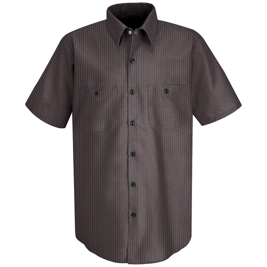 Red Kap Men's Small Charcoal/Red Twin Stripe Poplin Polyester Blend Short Sleeve Uniform Work Shirt