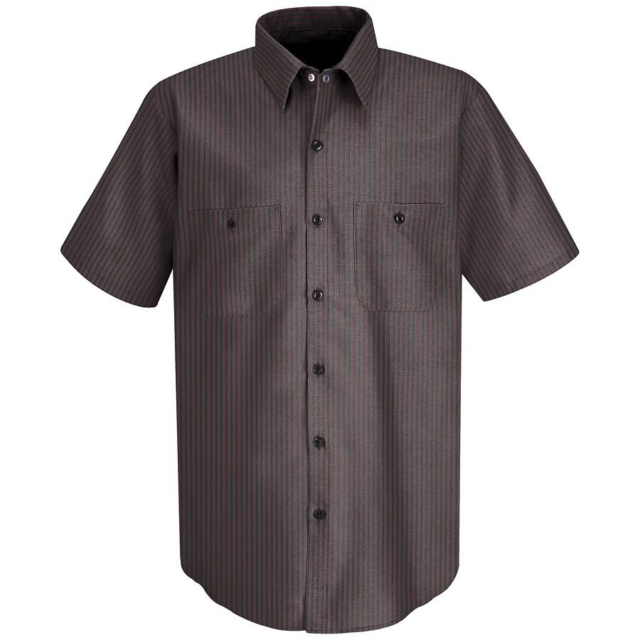 Red Kap Men's 3XL Charcoal Twin Stripe Poplin Polyester Blend Short Sleeve Uniform Work Shirt