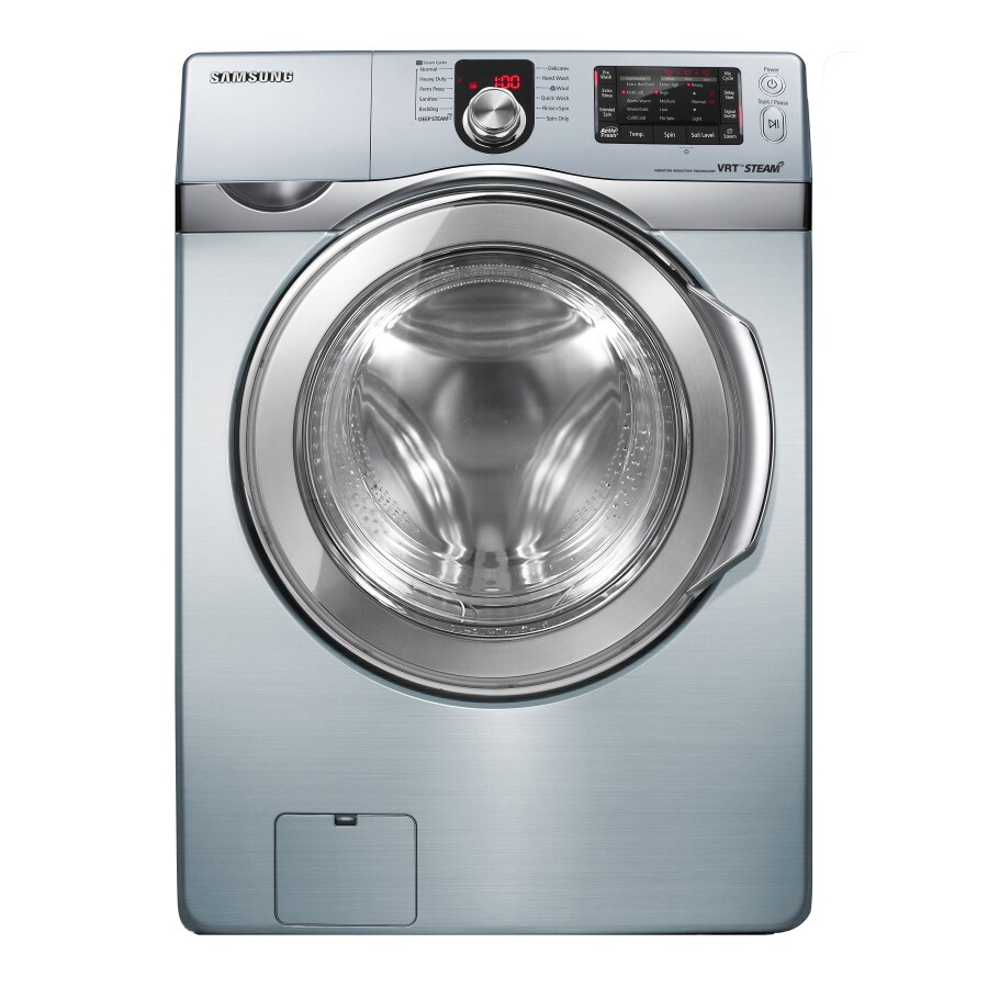 samsung 37cu ft stackable frontload washer blue steel