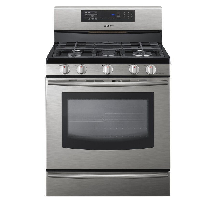 Samsung 5-Burner Freestanding 5.8-cu ft Self-Cleaning Convection Gas Range (Stainless Steel) (Common: 30; Actual: 29.81-in)