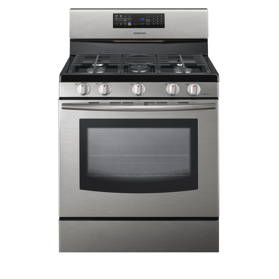 Samsung 5-Burner Freestanding 5.8-cu Self-Cleaning Convection Gas Range (Stainless Steel) (Common: 30; Actual: 29.81-in)
