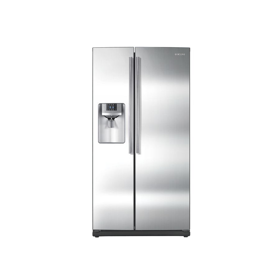 shop samsung 25 6 cu ft side by side refrigerator with single ice maker stainless steel energy. Black Bedroom Furniture Sets. Home Design Ideas