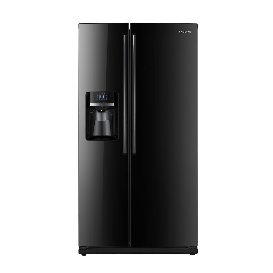 Samsung 25.6-cu ft Side-by-Side Refrigerator with Single Ice Maker (Black) ENERGY STAR