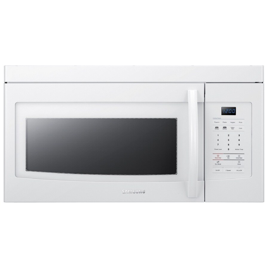 Samsung 1.6-cu ft Over-The-Range Microwave with Sensor Cooking Controls (White) (Common: 30-in; Actual: 29.87-in)