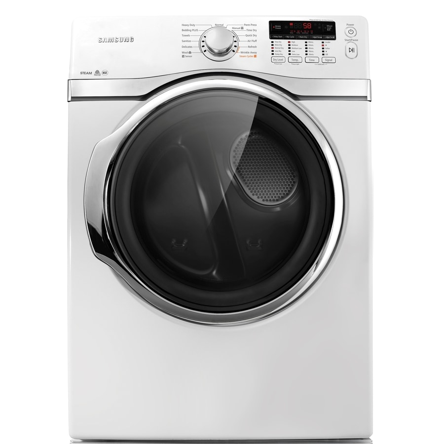 Samsung 7.4-cu ft Stackable Electric Dryer with Steam Cycle (White)