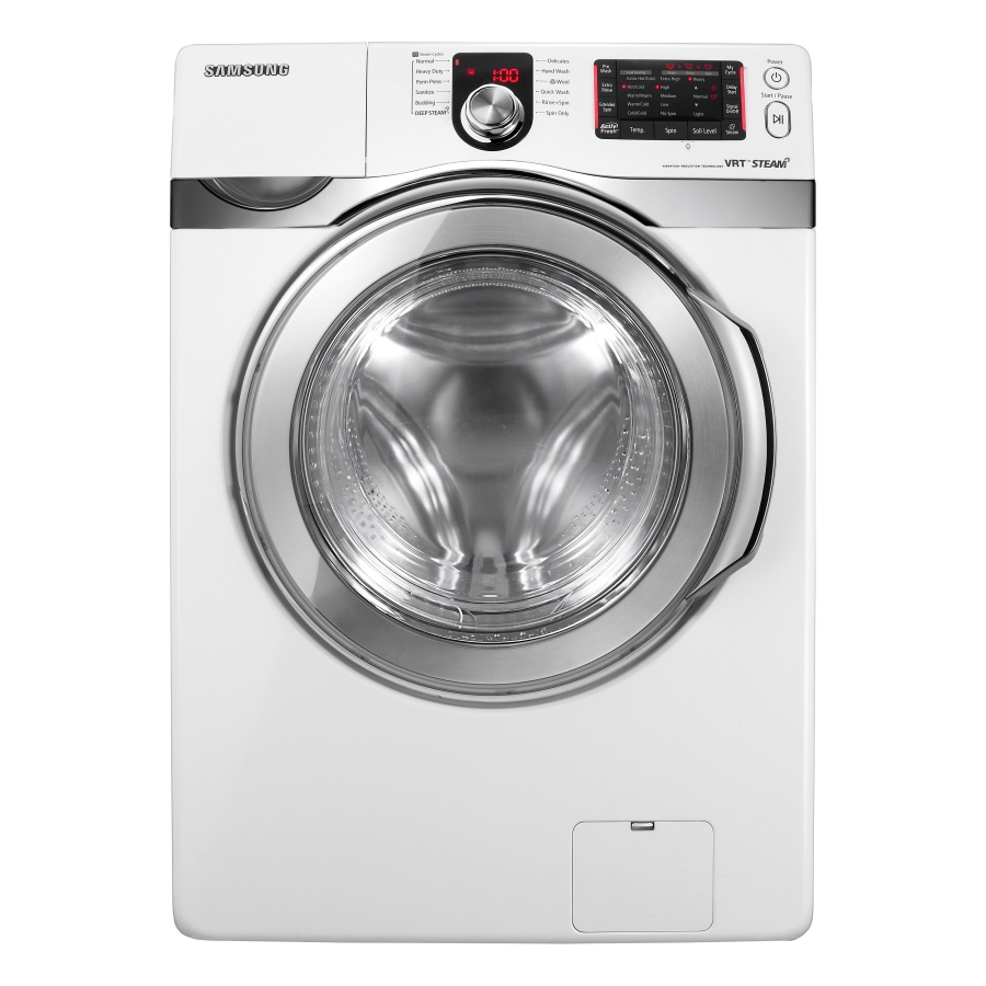 Samsung 3.7-cu ft High-Efficiency Stackable Front-Load Washer with Steam Cycle (White)