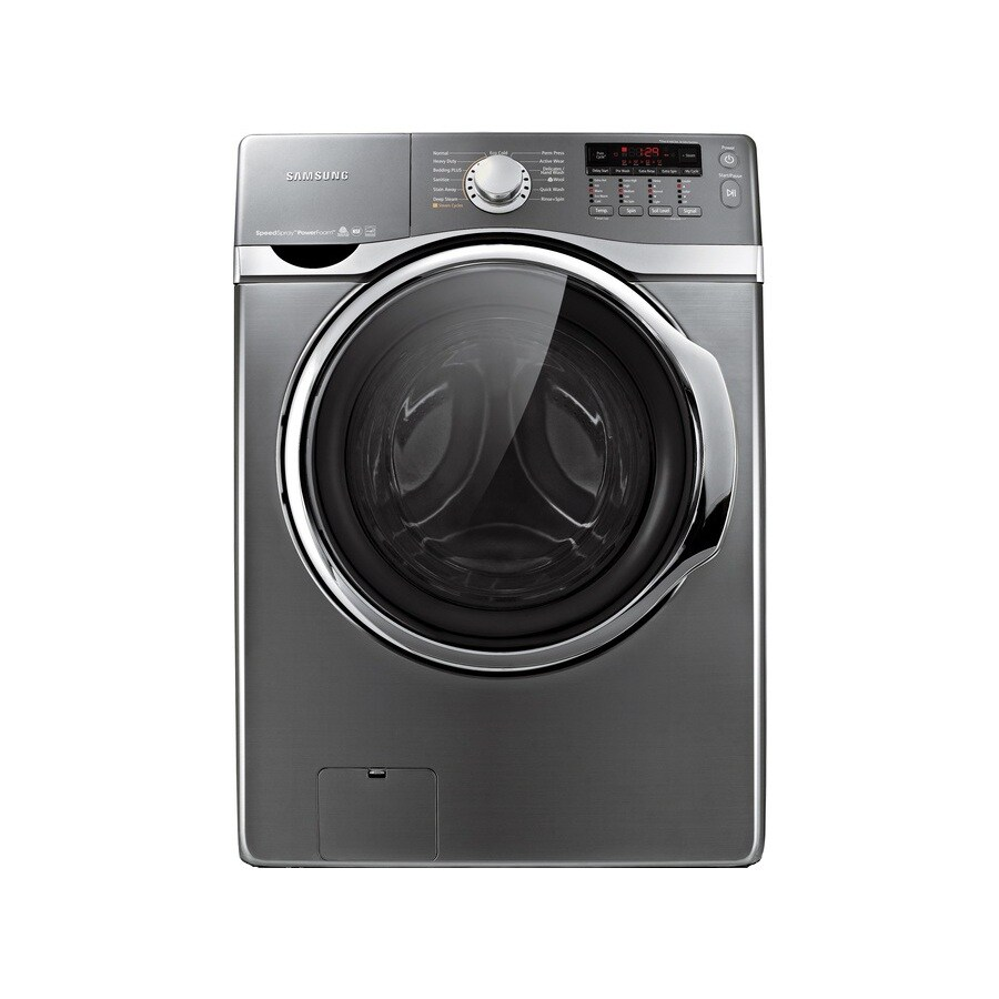 Samsung 4-cu ft High-Efficiency Stackable Front-Load Washer with Steam Cycle (Platinum)