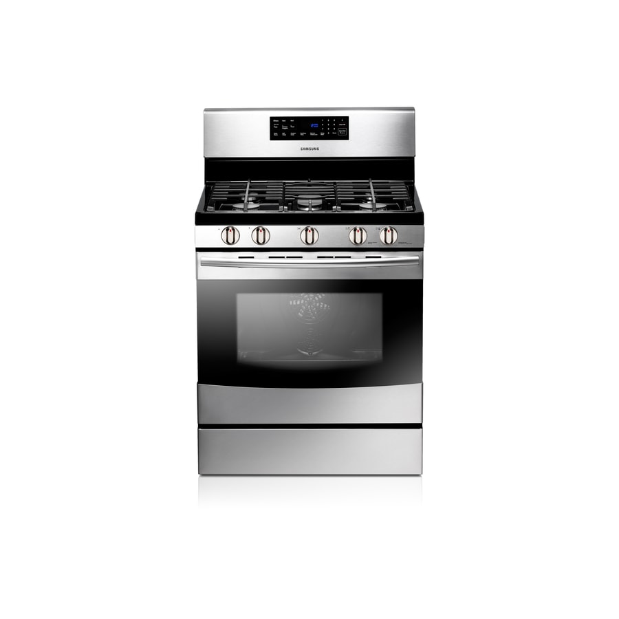 Samsung Affinity 5-Burner Freestanding 5.8-cu ft Self-Cleaning Convection Gas Range (Stainless Steel) (Common: 30-in; Actual: 29.8125-in)