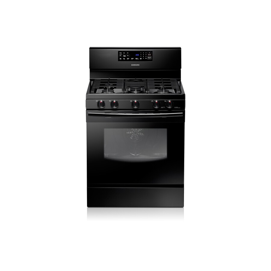 Samsung 5-Burner Freestanding 5.8-cu ft Self-Cleaning Convection Gas Range (Black) (Common: 30; Actual: 29.8125-in)