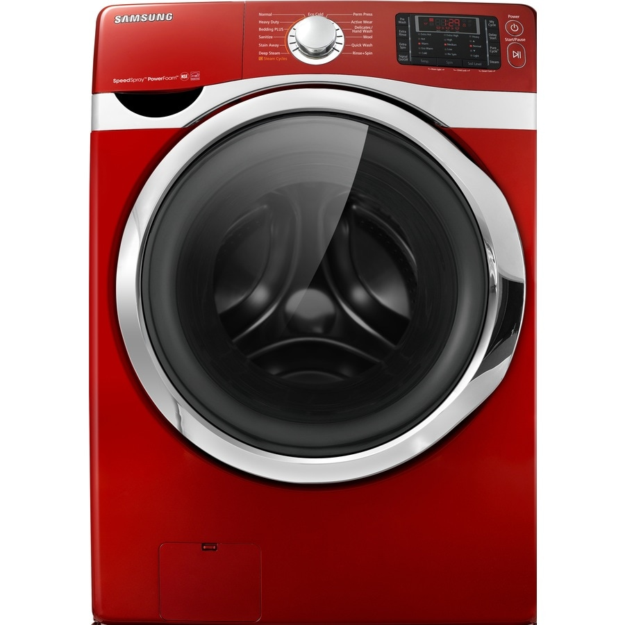 Samsung 4.3-cu ft High-Efficiency Stackable Front-Load Washer with Steam Cycle (Red)