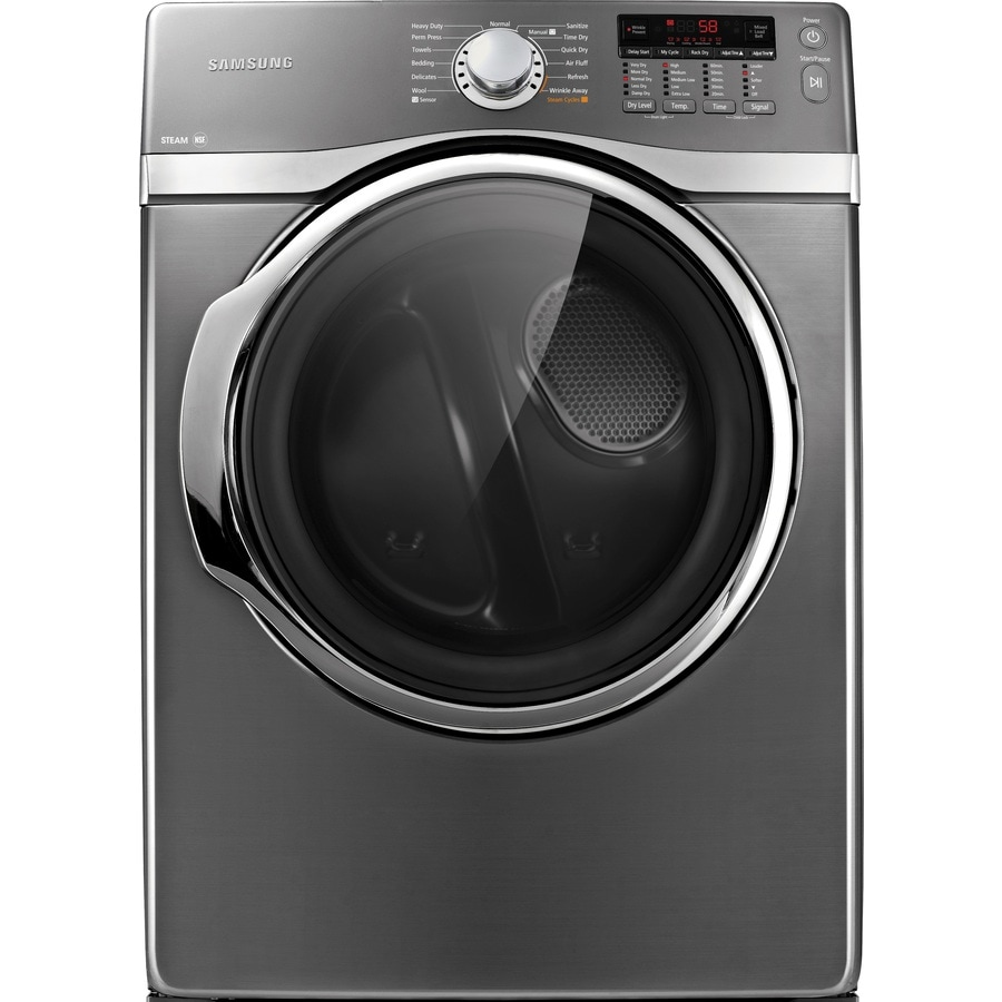 Samsung 7.4-cu ft Stackable Electric Dryer with Steam Cycles (Platinum)