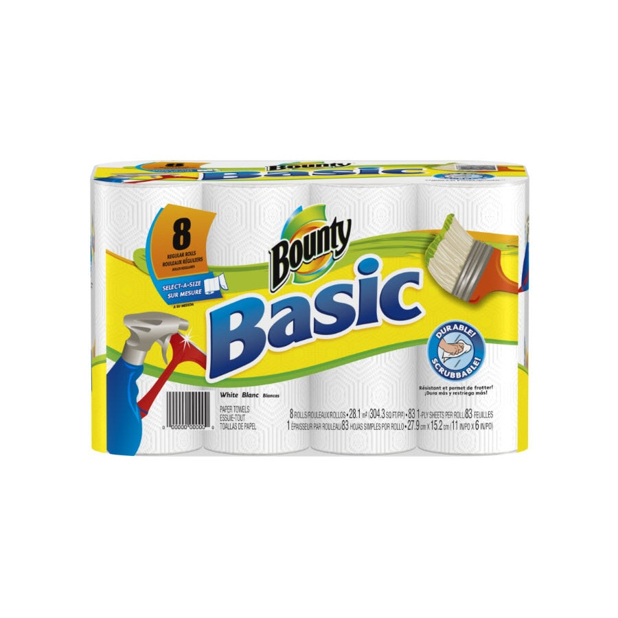 Bounty Basic 8-Pack White Paper Towels