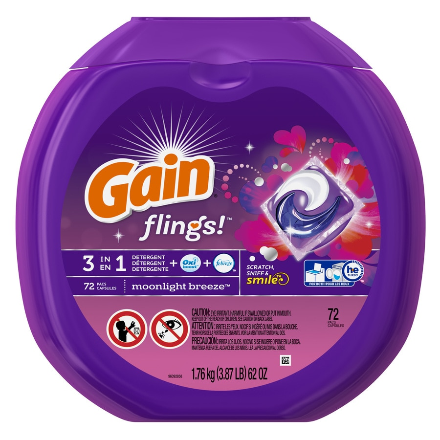 Gain Flings 72-Count Moonlight Breeze High-Efficiency Laundry Detergent