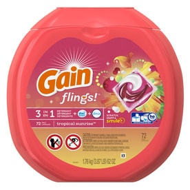 Gain Flings 72 Count Tropical Sunrise HE Capsules Laundry Detergent