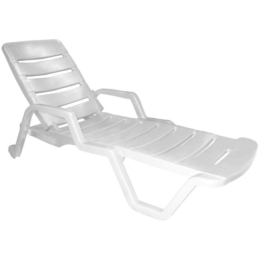 Adams Mfg Corp Stackable White Resin Chaise Lounge Chair With Slat Seat