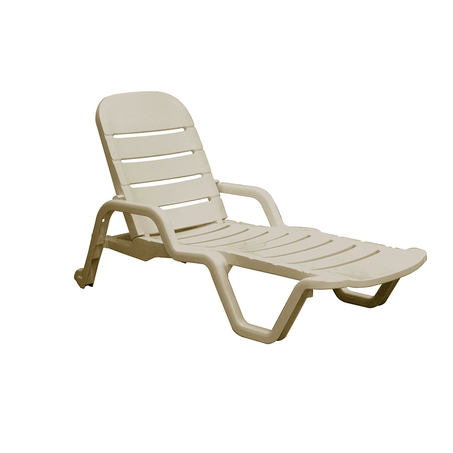 Shop adams mfg corp desert clay resin stackable patio for Chaise longue resine