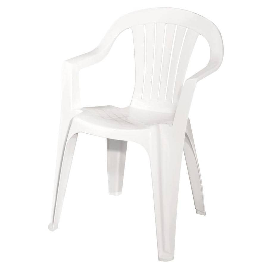 adams mfg corp 1count white resin stackable patio dining chair with - Stackable Patio Chairs