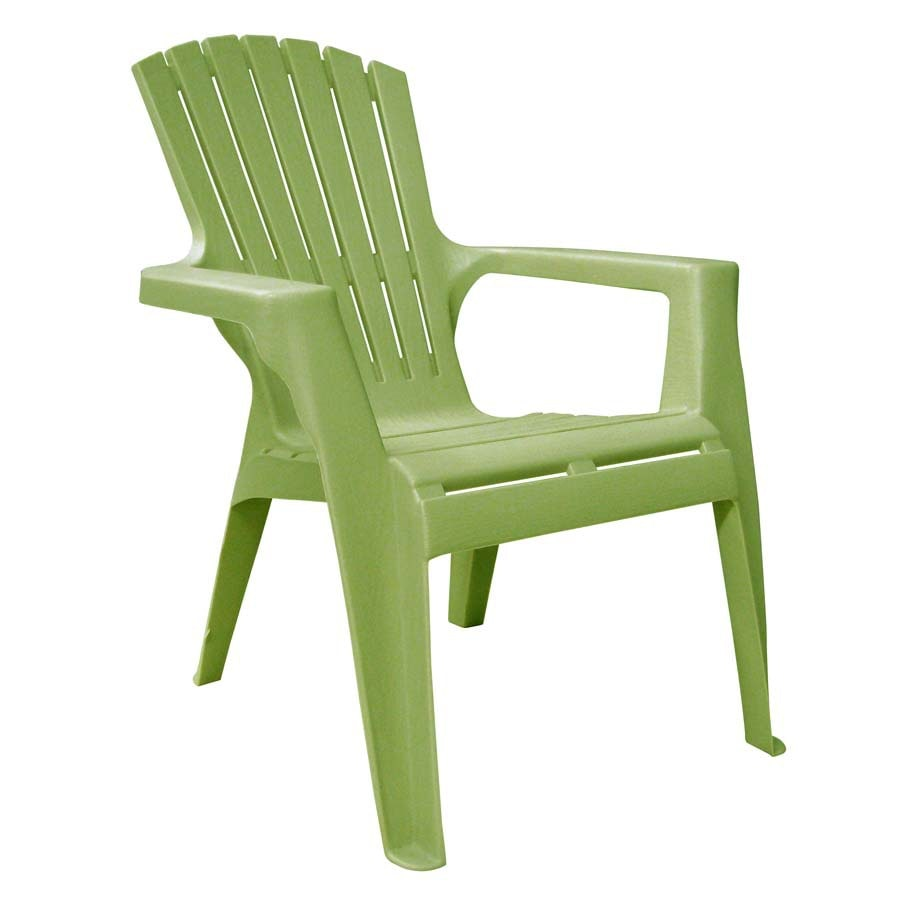 Shop adams mfg corp green resin stackable patio adirondack for Plastic patio furniture