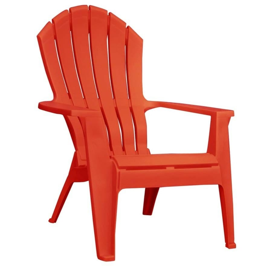 Shop adams mfg corp red resin stackable patio adirondack chair at Plastic outdoor furniture