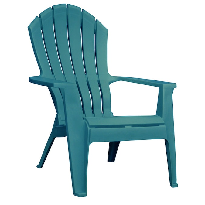 Adams Manufacturing Realcomfort Stackable Teal Plastic Frame Stationary Adirondack Chair S With Solid Seat In The Patio Chairs Department At Lowes Com