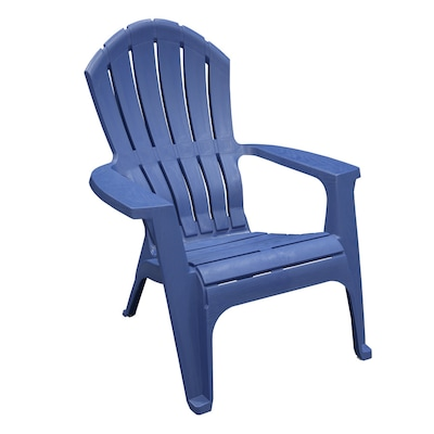 Adams Manufacturing Blue Stackable Plastic Stationary Adirondack Chair(s) with Slat Seat