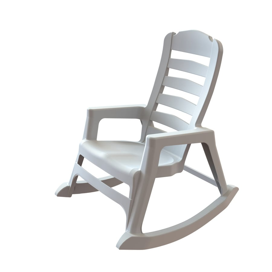 adams mfg corp white resin stackable patio rocking chair at
